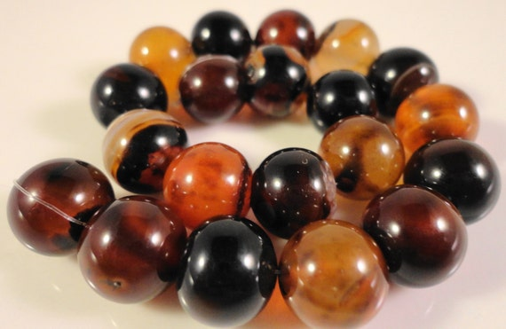 """Brown Agate Gemstone Beads 10mm Round Agate Beads, Brown Striped Agate Beads, Agate Stone Beads on a 7 1/2"""" Strand with 20 Beads"""