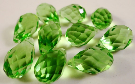 Green Briolette Crystals 12x8mm Medium Green Top Drilled Chinese Faceted Drop Crystal Beads 10 Loose Beads per Pack