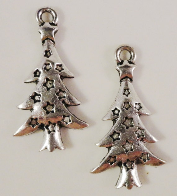 Christmas Tree Charms 26x14mm Antique Silver Charms Metal Christmas Charm Christmas Tree Pendants Holiday Charms Lead Free Findings 10pcs