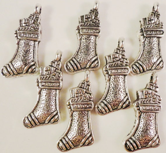 Silver Stocking Charms 11x21mm Antique Silver Metal Holiday Charms Christmas Charms Stocking Pendant Jewelry Making Craft Supplies 10pcs