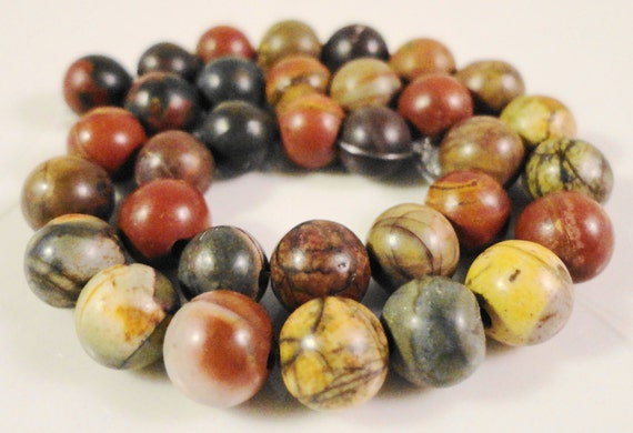 Picasso Jasper Gemstone Beads 6mm Round Red Creek Jasper Natural Multicolor Semiprecious Stone Beads on a 7 1/2 Inch Strand with 30 Beads