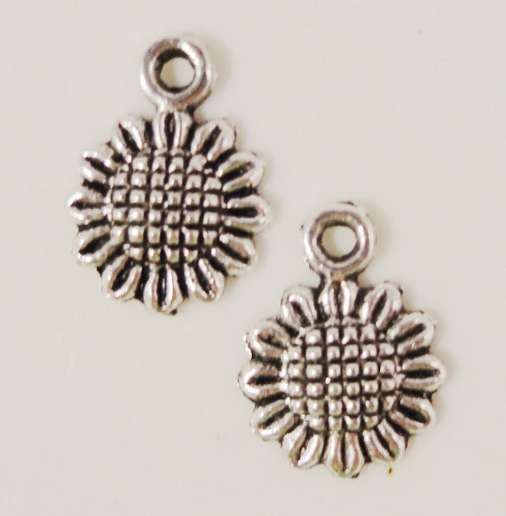 Silver Sunflower Charms 12x9mm Antique Silver Tone Metal Small Flower Charm Pendant Lead Free Jewelry Findings 16pcs