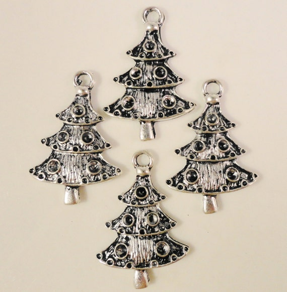 Christmas Tree Charms 18x26mm Antique Silver Tone Metal Holiday Christmas Charm Pendant Jewelry Findings 10pcs