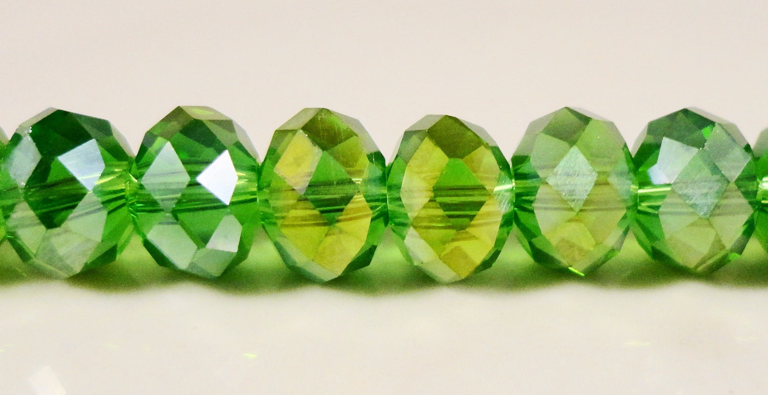 crystal rondelle beads 8x6mm 6x8mm apple green ab faceted chinese crystal glass beads for. Black Bedroom Furniture Sets. Home Design Ideas