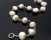 Tin Cup White Pearl Bracelet With Baroque Freshwater Pearls and Sterling Silver