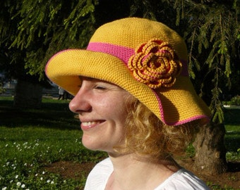 Woman's sun hat, yellow, fuchsia pink, crochet wide brim hat, cotton hat, summer wedding hat
