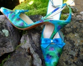 Wedding shoes~ Size 10~Something Blue~One of a Kind~Monet Waterlilies~Silk Shoes~Next Day Shipping!