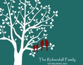 """11"""" x 14"""" Personalized Custom Love Birds Family Wedding Tree - 11x14 - teal and white modern print"""