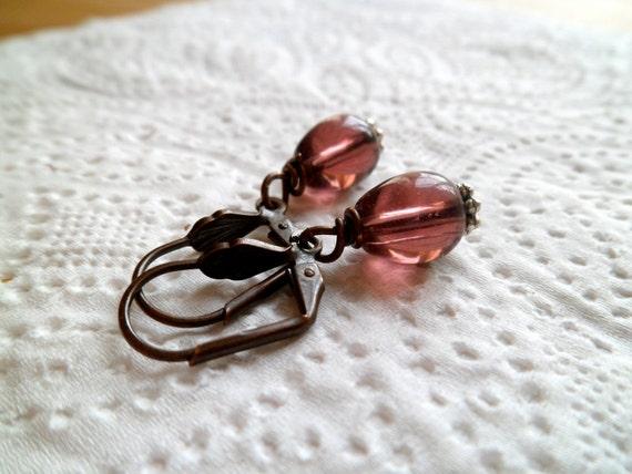 dark purple  earrings  free shipping vintage beaded glass
