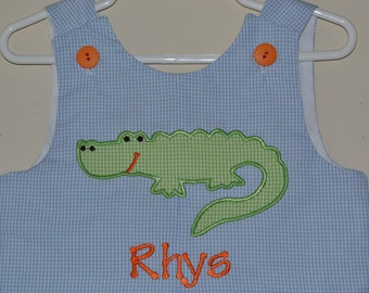 Custom Handmade Personalized Monogrammed Alligator Jon Jon, Blue Gingham Romper