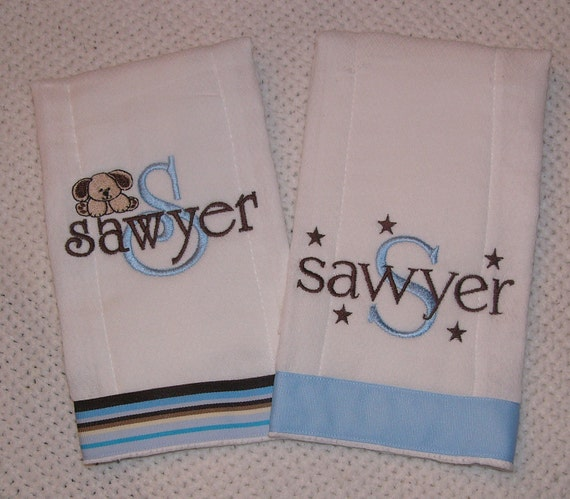 Set of 2 Personalized Monogrammed Burp Cloths for Him