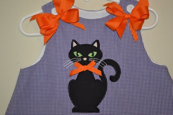 Adorable A-Line Halloween Dress, Black Cat with Orange Bow Dress