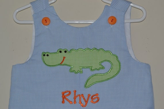 Custom made Personalized Monogrammed Alligator Jon Jon, Romper