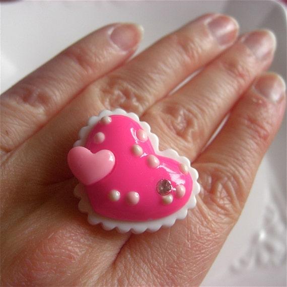 Large Pink Heart Ring - Kawaii, Fairy Kei, Harajuku, Kitsch, Lolita, Princess, Valentines Day
