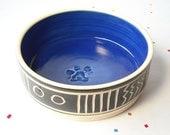 Small Pet bowl, Cobalt blue inside