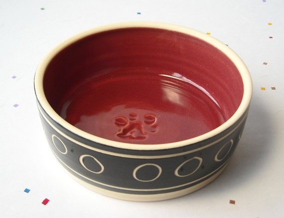 Small Pet Bowl, red interior for cat or small dog