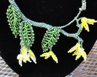 Spring Forsythia Flower Beadwork Necklace