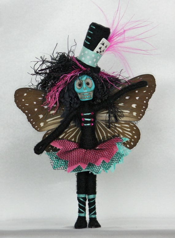 Zombie Fairy Art Doll OOAK One Of A Kind Gothic Death Moth Butterfly
