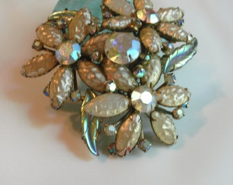 Vintage '60's or 50's brooch On Sale ** Great patina painted with iridescent paint Approx 18 rhinestones