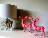 SALE  Shabby Chic DEER Set French Provincial Juicy Couture Pink cast iron Statue or Figurine