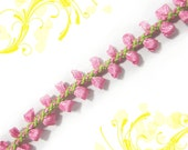 "y251 Per 5 Yards (Pink Lime) x  3/8"" Ribbon Lace Trim Narrow Edge Dress Trim"