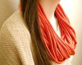 Bright Red Jersey Infinity Scarf made of cotton