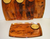 RESERVED FOR NIKKI- Set of 4 Vintage Tortoise Shell Snack Trays with Coasters