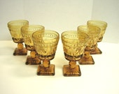 RESERVED- Amber Glass Colony Park Lane Wine/Cordial Goblets Set of 6 Vintage