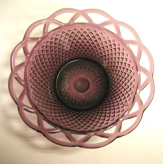 Purple Amethyst Pressed Glass Lattice Edged, Diamond Patterned Bowl