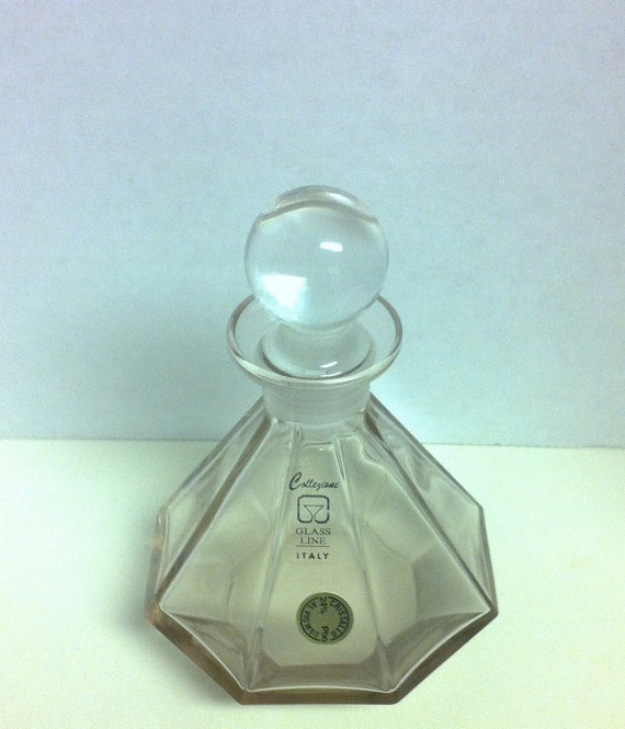 Collezione Glass Line Italy Vintage Perfume Decanter Bottle with Stopper