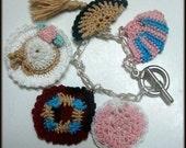 Bonnet, Fan, Quilt, Heart and Crescent charms Crochet Bracelet