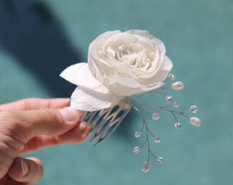 Bridal Ivory Hair Comb Silk Chiffon Flower Fresh Water Pearls and Swarovski Crystals Hair Fascinator, Clip