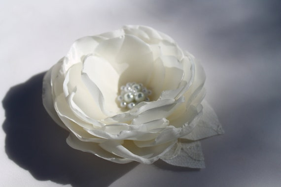 RESERVED FOR MELISSA Bridal Ivory  Flower Hair Clip  with Pearls and Swarovski Crystal