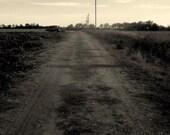 dust // Lawrence, KS // dirt road // tracks // power lines // Kansas Photography // fine art print