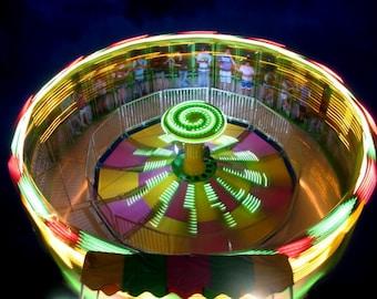 round & round // Shawnee, KS // carnival // lights // spinning // bright colors // blur // fine art print
