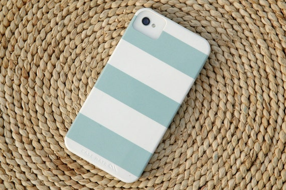 SALE Wide Stripe in Island Blue Barely-There Snap-On Hard Plastic iPhone 4 Case (In Stock & Ready to Ship)