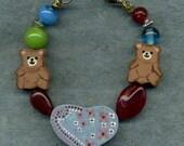 I Love Teddy Bears bracelet  made by 5 yr. old Lyla
