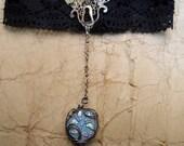 Silver fantasy steampunk, victorian, collar.