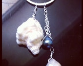 Sterling Silver Triton Necklace with Tahitian Pearl and White Quartz