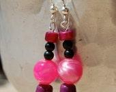 Pink, Purple and Black Salvaged Bead Earrings
