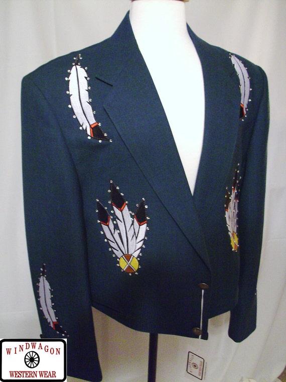 Men's Green Custom-Decorated Western Jacket - Bolero - Size 46