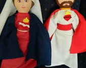 Immaculate Heart of Mary and Sacred Heart of Jesus Cloth Dolls