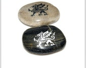 Welsh Dragon- Engraved Stone- Pocket Stone- Paper weight- Dragon
