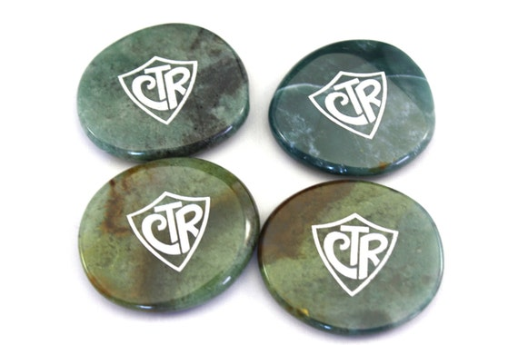 Pocket Stone- Reminder-Green Agate- LDS- CTR- Religious- Choose The Right