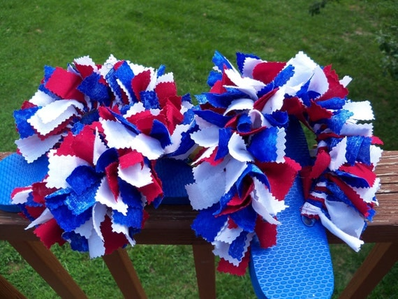 SALE: Red, White, & Blue Fun and Fluffy Flip Flops