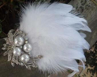 Feather Fascinator, Wedding Hair Piece