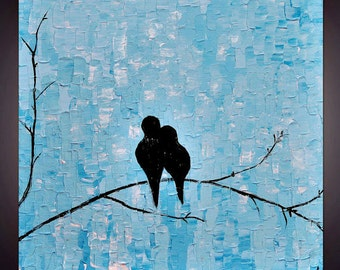 Original Abstract   Blue  Love   Birds  Impasto Palette Knife  Wall Art Painting. Size 24 x 24 x 1.5