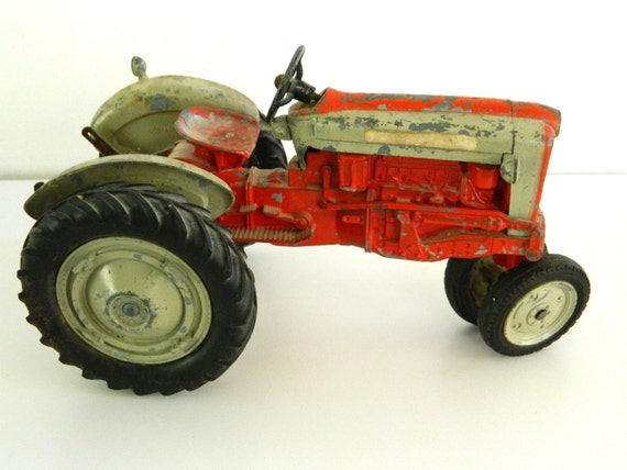 Hubley Tractor Toy Red Vintage