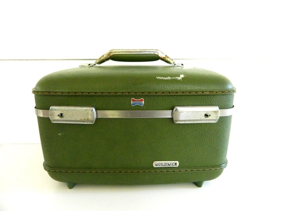 Green American Tourister Train, Make-up, Carry-On Case