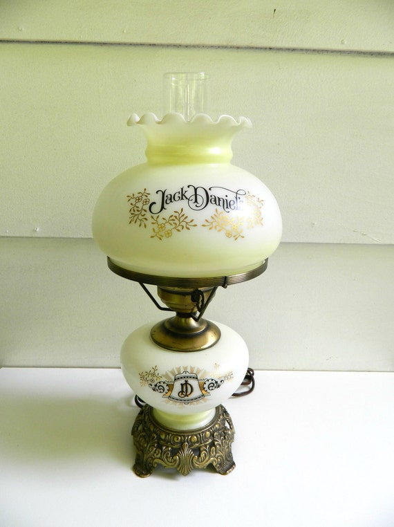 Jack Daniels Parlor Table Lamp White Glass Brass